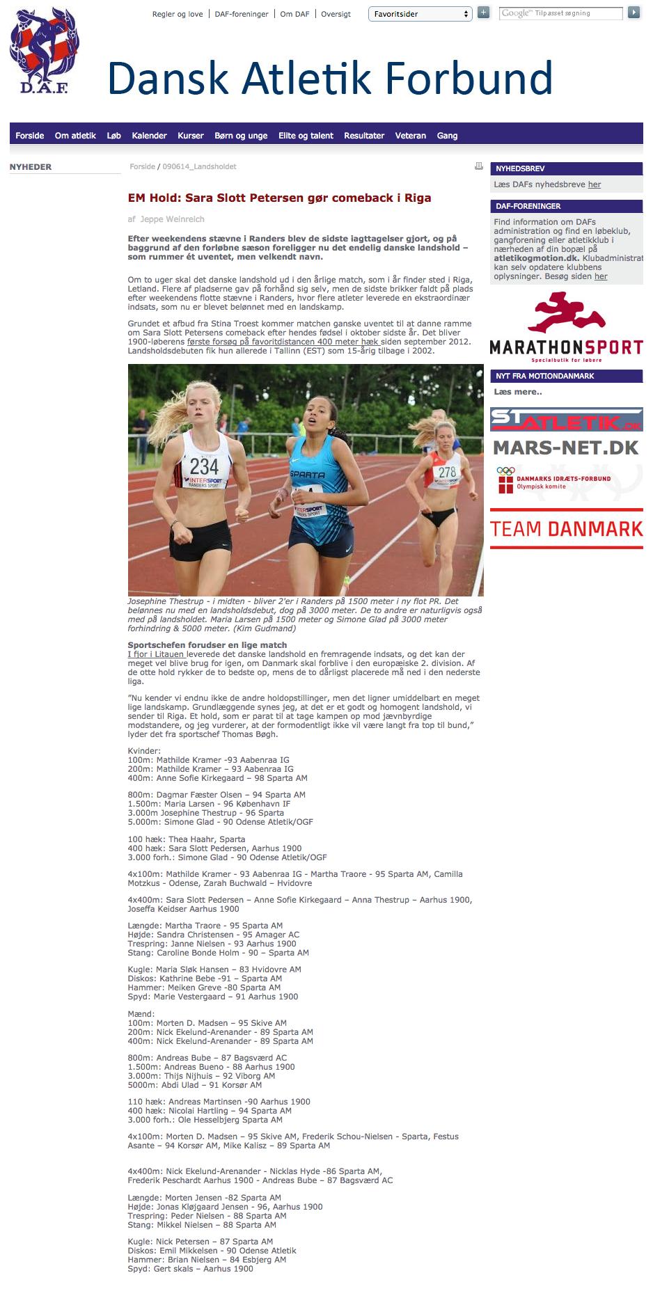 Dansk Atletik Forbund - EM Hold  Sara Slott Petersen gør comeback i Riga