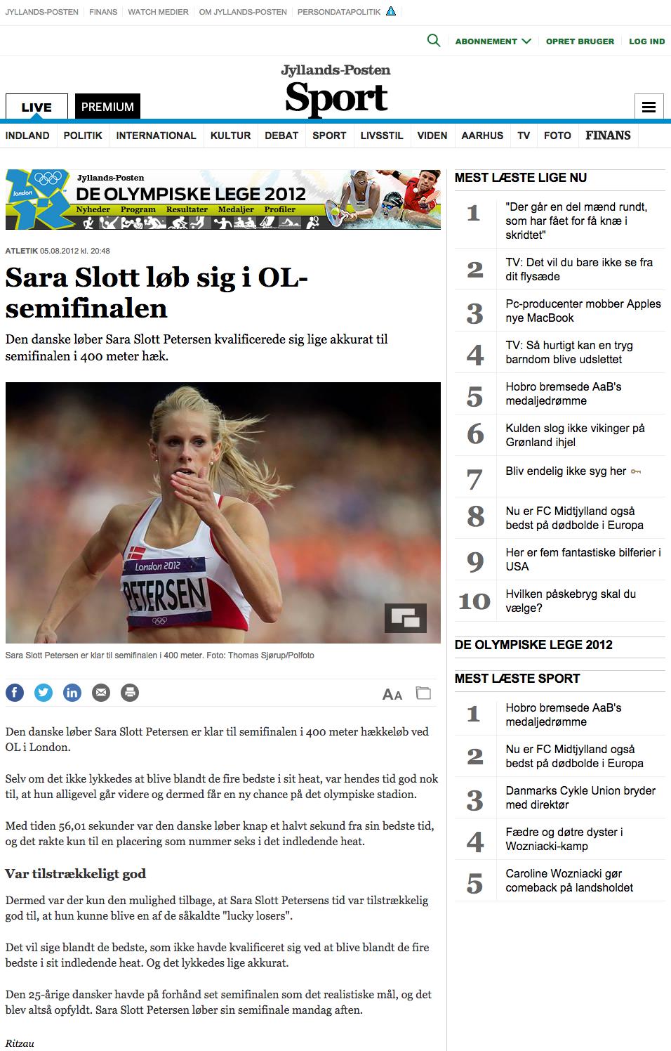 Sara Slott løb sig i OL-semifinalen - Atletik - OL 2012 - Sport
